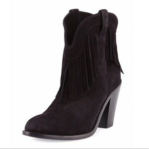 SAINT LAURENT Suede Fringe Curtis 80 Ankle Boots